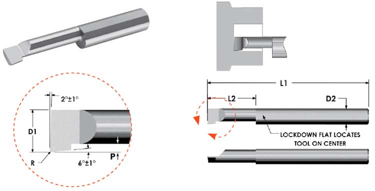 1-1//2 AlTiN Coated 0.1875 Maximum Bore Depth 38 mm Minimum Bore Diameter Overall Len 0.500 2.54 mm 0.025 4.8 mm Shank Diameter Micro 100 QMBB-100500X Quick Change Miniature Boring Tool 12.7 mm Solid Carbide Tool 0.100 Projection 0.64 mm